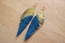 Load image into Gallery viewer, Turquoise Reclaimed Leather Feather Earrings, Gold Tops