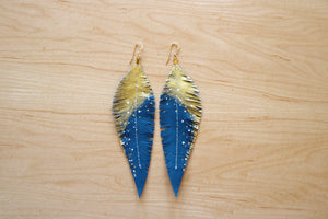 Turquoise Reclaimed Leather Feather Earrings, Gold Tops