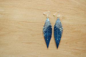 Turquoise Reclaimed Leather Feather Earrings, Silver Tops