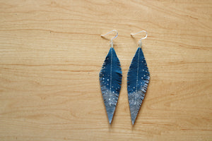 Turquoise Reclaimed Leather Feather Earrings, Silver Tips