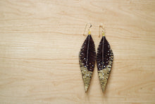 Load image into Gallery viewer, Brown Reclaimed Leather Feather Earrings, Gold Tips