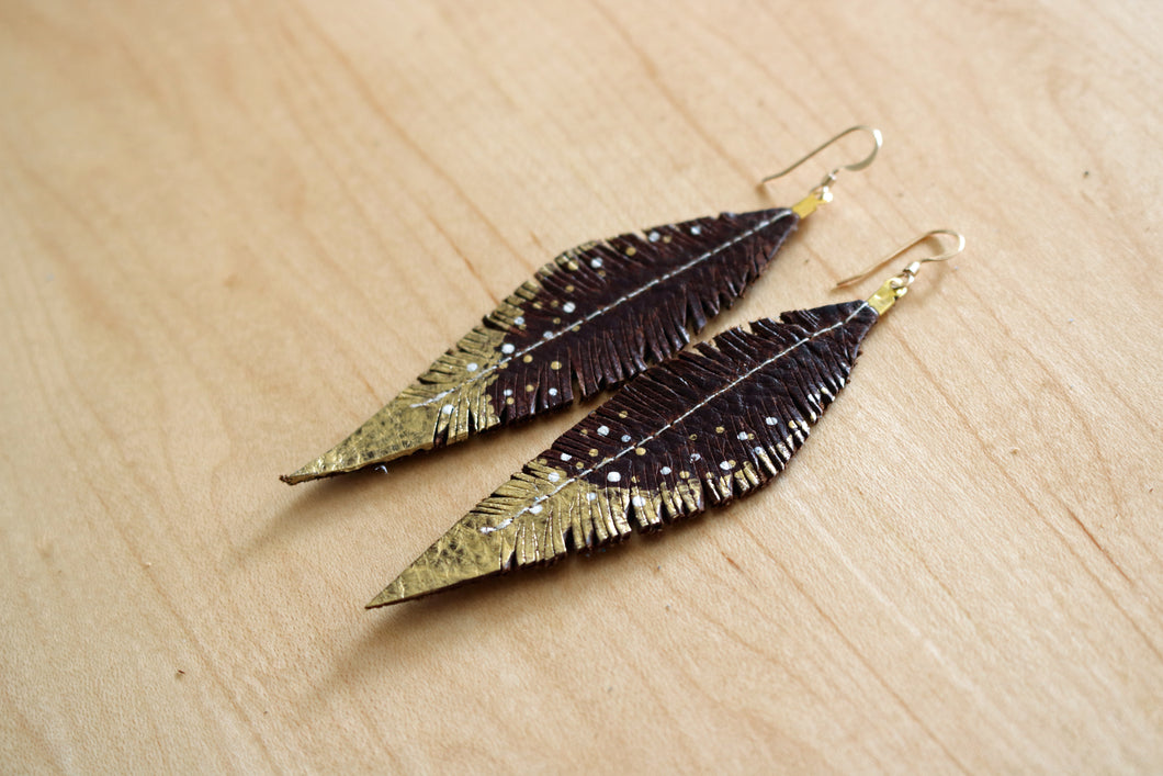 Brown Reclaimed Leather Feather Earrings, Gold Tips