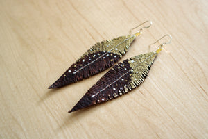 Brown Reclaimed Leather Feather Earrings, Gold Tops