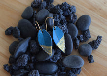 Load image into Gallery viewer, Mini Leather Leaf Earrings, Turquoise