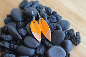 Mini Leather Leaf Earrings, Mustard Yellow