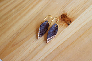 Mini Leather Leaf Earrings, Brown
