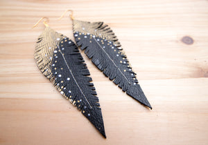 Long Black Reclaimed Leather Feather Earrings, Gold Tops
