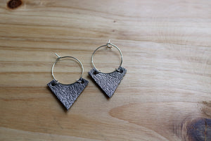 Small Silver Hoop with Pewter Leather Arrowhead