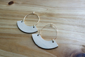Medium Gold Hoop with Cream Leather Drop