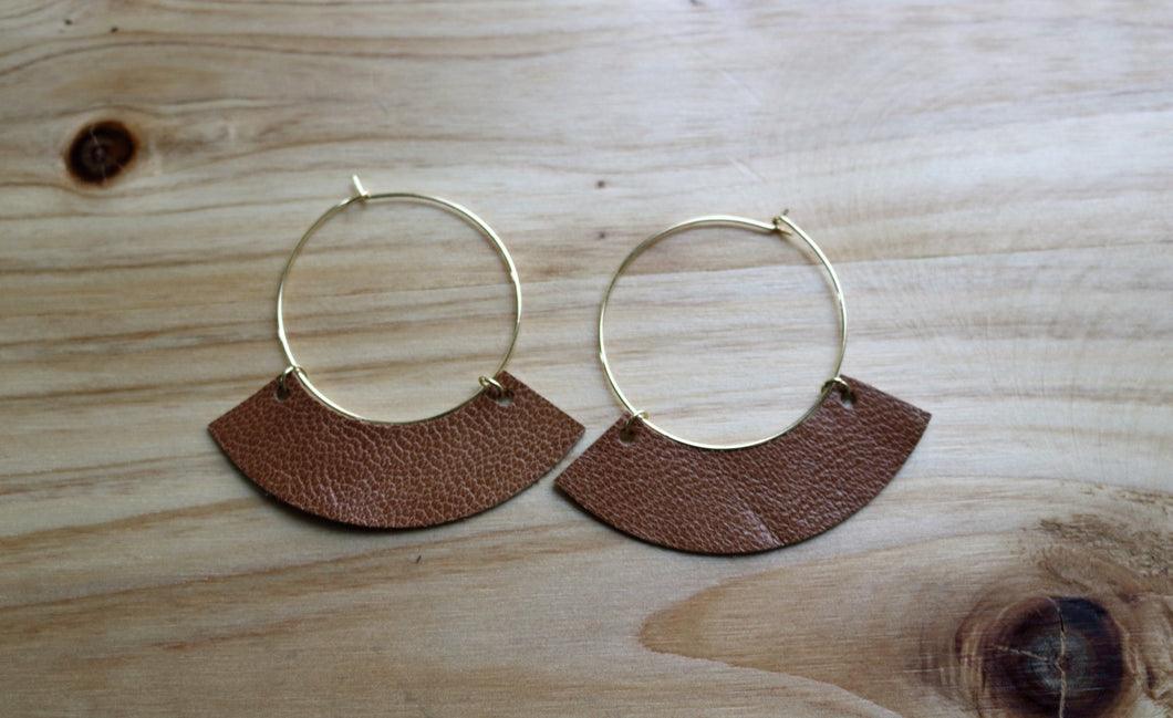 Large Gold Hoop with Camel Brown Leather Drop
