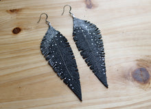 Load image into Gallery viewer, Long Black Reclaimed Leather Feather Earrings, Gun Metal Tops