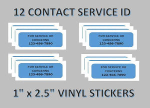 "12 Pack CONTACT US Stickers for Vending Candy Labels Machines 1 x 2.5"" - Vending Labels"
