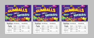 "3 PACK NERD GUMBALL NEW 2.5"" x 2.5"" Candy Vending Labels Sticker NUTRITION - Vending Labels"