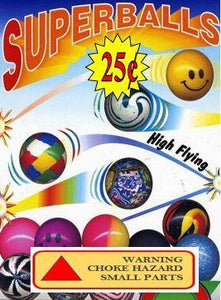 Super Bouncy Ball Display Label Card 4 x 5""