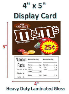 "4"" x 5"" Toy Candy Vending Machine Label LAMINATED DISPLAY CARD Nutrition with PRICE - Vending Labels"