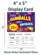 "Load image into Gallery viewer, 4"" x 5"" Toy Candy Vending Machine Label LAMINATED DISPLAY CARD Nutrition with PRICE - Vending Labels"