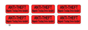 "6 Pack ANIT-THEFT Stickers for Vending Candy Labels Machines 1"" x 2.5"""