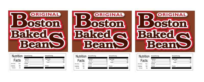 Boston Baked Beans 2.5 Candy Vending Labels Sticker NUTRITION