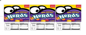 "3 PACK Chewy Nerds 2.5"" x 2.5"" Candy Vending Labels Sticker NUTRITION (New Design)"