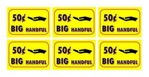 "6 Pack BIG HANDFUL PRICE Stickers for Vending Candy Labels Machines 2"" x 3"" .50"