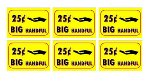 "6 Pack BIG HANDFUL PRICE Stickers for Vending Candy Labels Machines 2"" x 3"" .25"