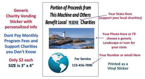 "2 Pack CUSTOM CHARITY Stickers for Vending Candy Labels Machines 3"" x 4"" - Vending Labels"