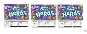 "3 PACK Chewy Nerds 2.5"" x 2.5"" Candy Vending Labels Sticker NUTRITION"