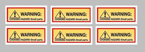 6 Pack CHOKE HAZARD Stickers for Vending Candy Labels Machines 1 x 2.5""