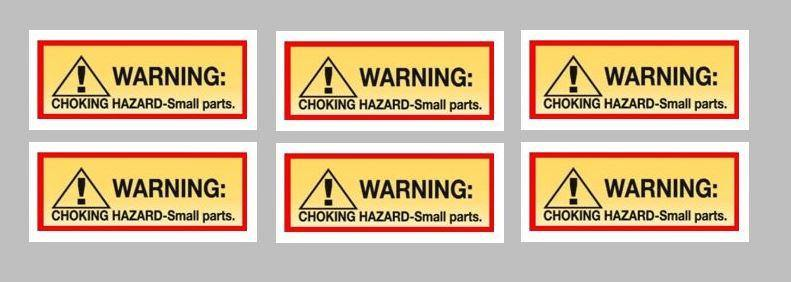 6 Pack CHOKE HAZARD Stickers for Vending Candy Labels Machines 1 x 2.5