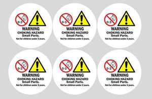 6 Pack CHOKE HAZARD ROUND Stickers for Vending Candy Labels Machines 2""