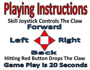 CRANE PLAY INSTRUCTIONS Sticker Label for Vending Candy Crane Machines