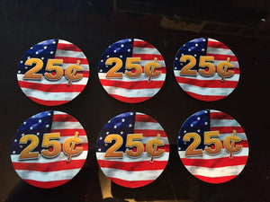 "6 Pack FLAG PRICE Stickers for Vending Candy Labels Machines 2"" Diameter"