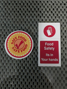 "Food Safety Label Sticker Candy Vending 1.5"" x 3"" or 2"" round"