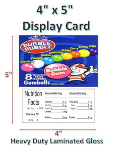 "4"" x 5"" Toy Candy Vending Machine Label LAMINATED DISPLAY CARD Nutrition - Vending Labels"