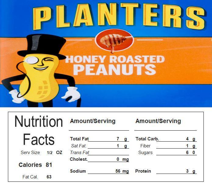 Honey Roasted Peanuts Vending Machine Candy Label Sticker With NUTRITION
