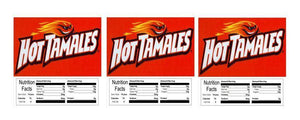 "3 PACK Hot tamales 2.5"" x 2.5"" Candy Vending Labels Sticker NUTRITION"