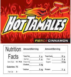 Hot Tamales Vending Machine Candy Label Sticker With NUTRITION