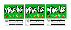 "3 PACK Mike & Ike 2.5"" x 2.5"" Candy Vending Labels Sticker NUTRITION"