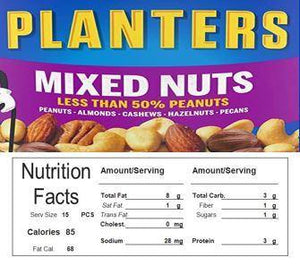 Mix Nuts Vending Machine Candy Label Sticker With NUTRITION