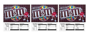 "3 PACK M&M Plain 2.5"" x 2.5"" Candy Vending Labels Sticker NUTRITION"