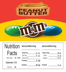 M&M Peanut Butter Vending Machine Candy Label Sticker With NUTRITION