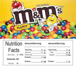 Skittles Vending Machine Candy Label Sticker With NUTRITION