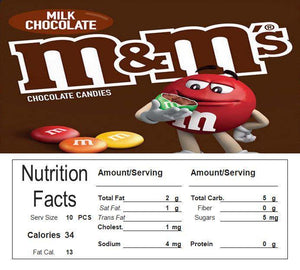 M&M Plain Vending Machine Candy Label Sticker With NUTRITION