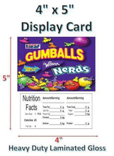 "Load image into Gallery viewer, 4"" x 5"" Toy Candy Vending Machine Label LAMINATED DISPLAY CARD Nutrition - Vending Labels"