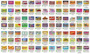 Laminated (non adhesive) Vending Candy Label Sticker with NUTRITION Mix & Match