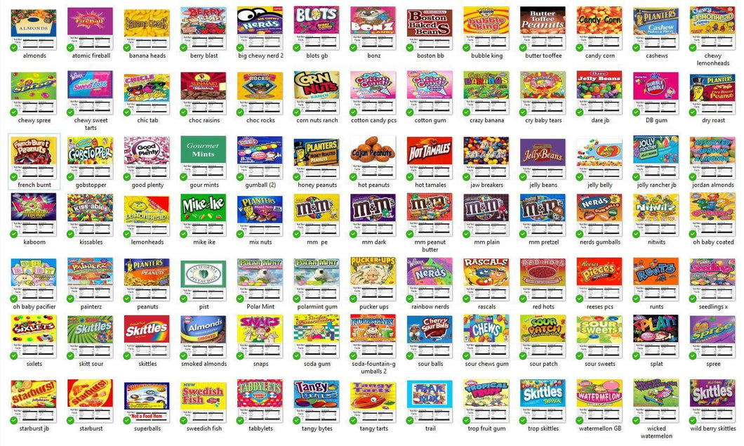 Vinyl Vending Candy Label Sticker with NUTRITION Mix & Match