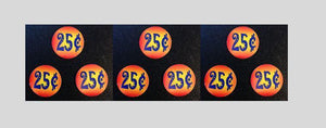 "9 Pack PRICE Stickers ORANGE for Vending Candy Labels Machines 1"" Diameter - Vending Labels"
