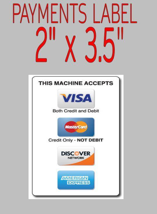 Price Stickers VENDING MACHINE PAYMENTS LABEL CREDIT CARD READER FULL