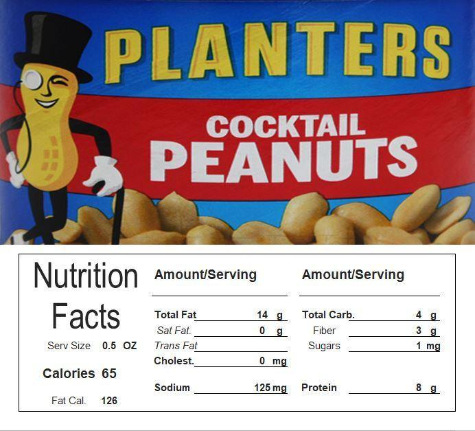 Peanuts Vending Machine Candy Label Sticker With NUTRITION