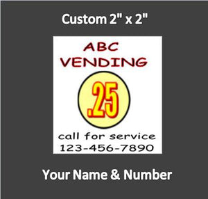 "6 Pack CONTACT ID PRICE Sticker Service Your Name & Number 2"" x 2"" - Vending Labels"